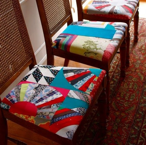 colorful cushions for dining chairs with patchwork material