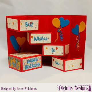 Custom Dies: Balloons & Streamers, Celebration Words, Treat Tower, Paper Collection: Birthday Bash