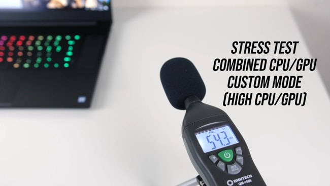 Measured the fans' noise level using digitech's sound meter and found 54.3dB during stress tests in custom mode.