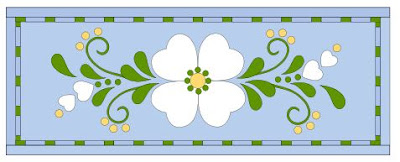 Spring Fling table runner in light blue by QuiltFabrication
