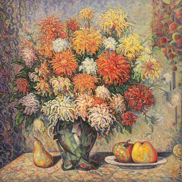 Nicolae Vasilescu: Chryzantemy i owoce