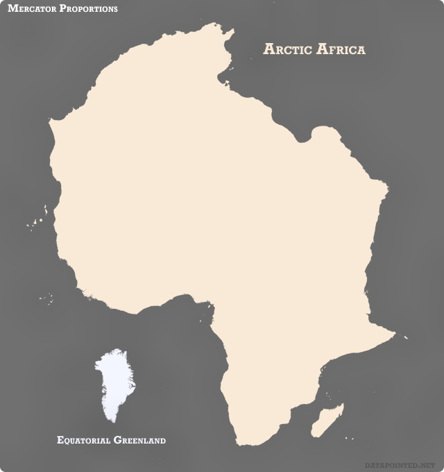 Map Of Africa With Equator.Mercator Proportion Greenland Moved To The Equator Africa Moved