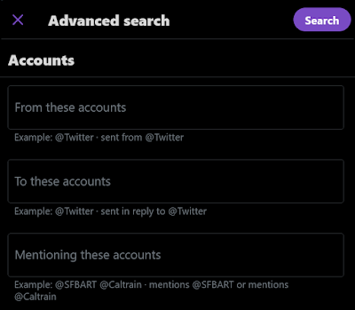 Twitter Advanced Search dialog for accounts