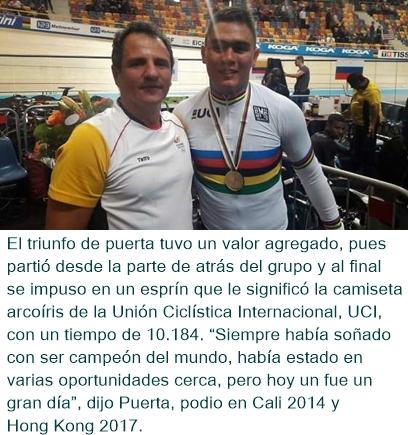 El colombiano Fabián Puerta se coronó campeón mundial del keirin en Apeldoorn, Holanda