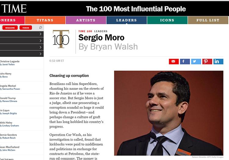 Moro aparece na lista dos '100 mais influentes' da revista 'Time'