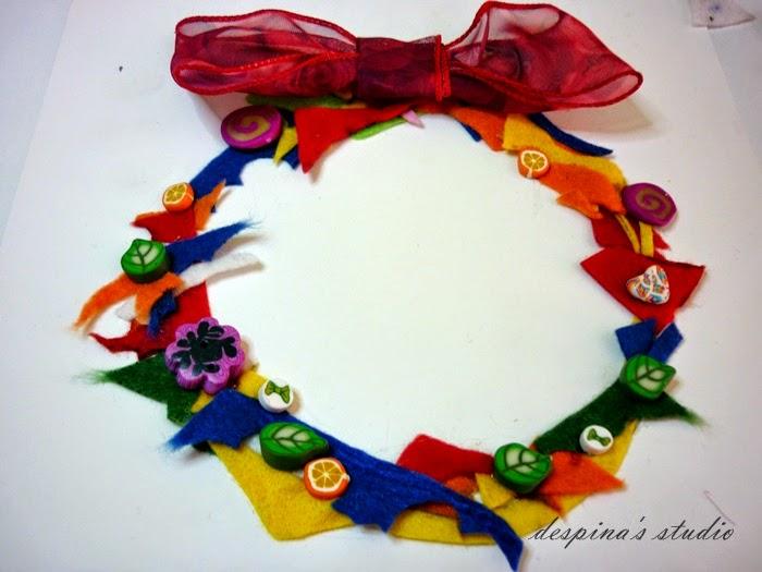 DIY Felt leftovers wreath - Στεφάνι από περισσεύματα τσόχας