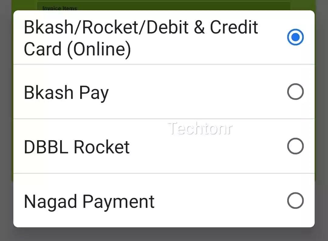 Bkash,Roket, DBBL Roket, credit card,debit card, Nagad Payment