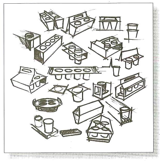 Contoh sketsa ide untuk produk pembawa gelas jus.