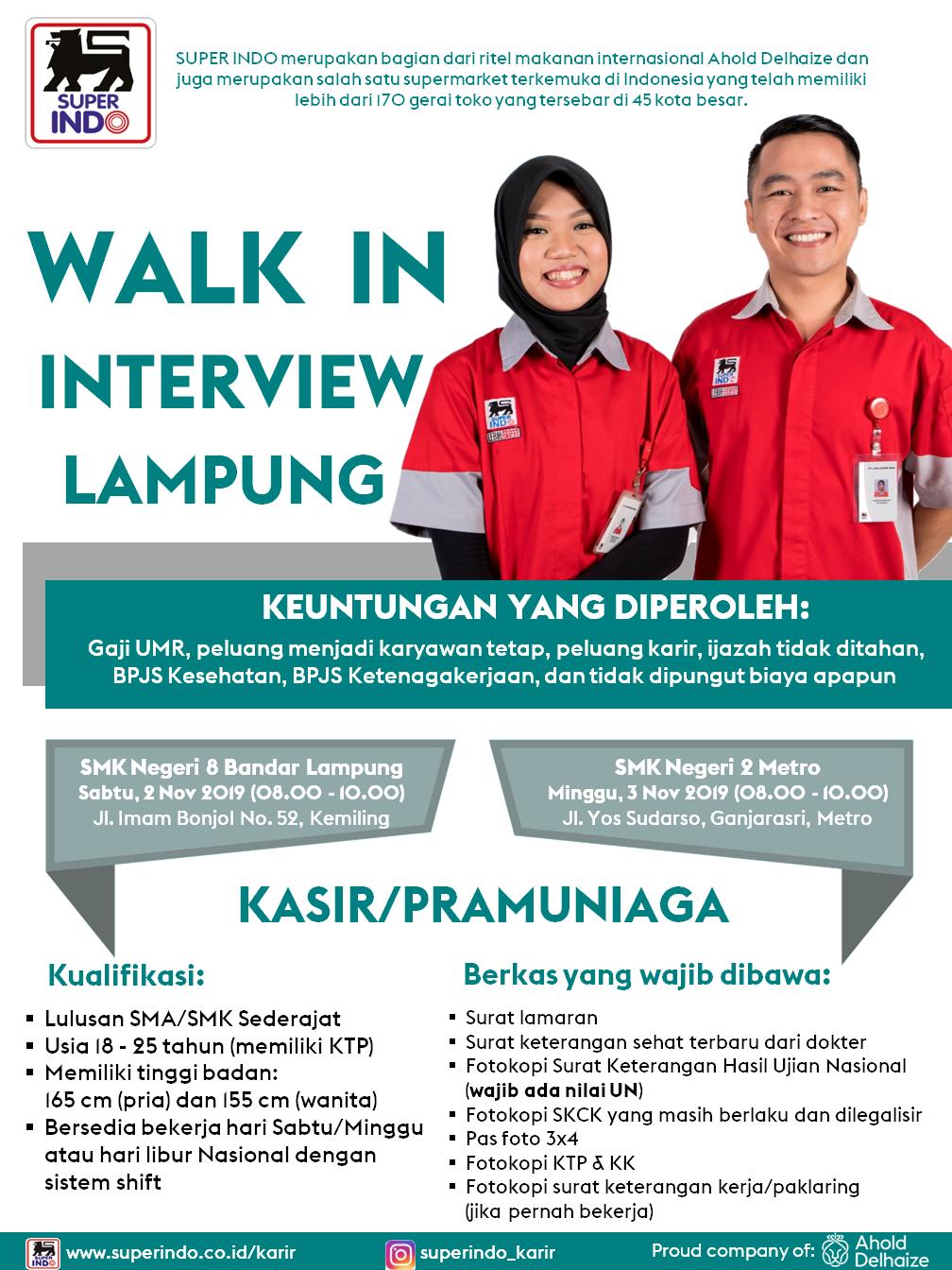 Lowongan Kerja Terbaru PT Super Indo Lulusan SMA/SMK sederajat November 2019