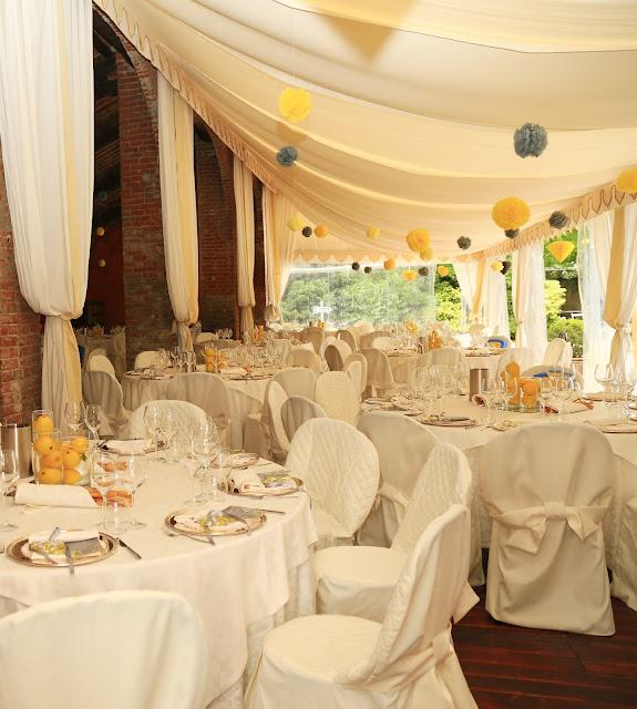 Allestimento tavoli ricevimento matrimonio tema limoni