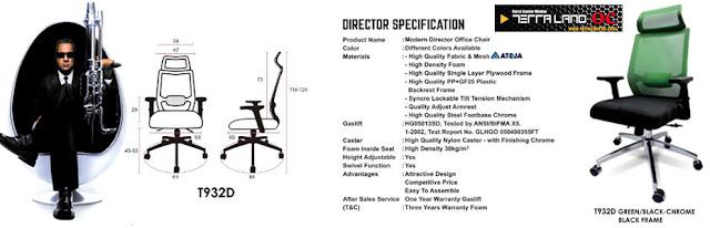 tipe T932D kursi direktur speksifikasi hijau