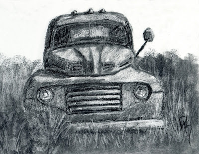 abandoned vintage Ford truck charcoal sketch