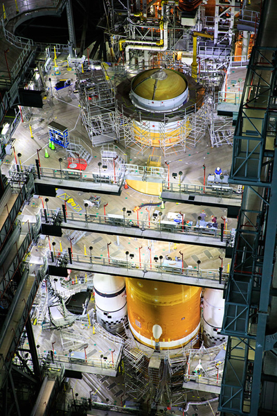The Space Launch System rocket undergoes stacking operations for Artemis 1 inside the Vehicle Assembly Building at NASA's Kennedy Space Center in Florida...on July 8, 2021.