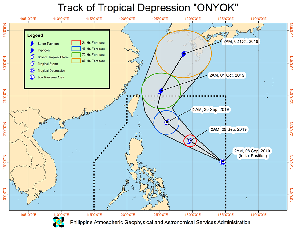 'Bagyong Onyok' is less likely to make landfall in the country