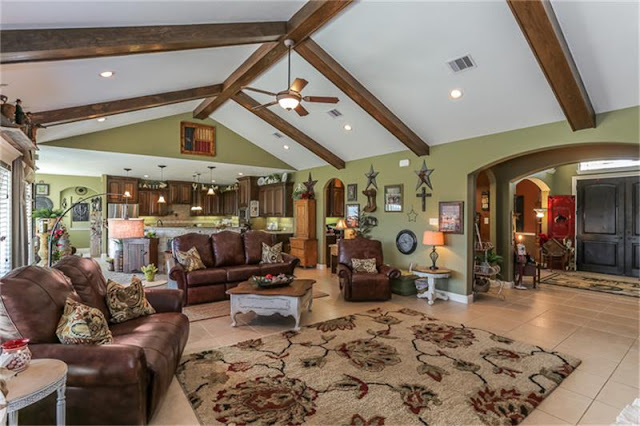Wood Beams-Open Concept-House Hunting-Texas Hill Country House- From My Front Porch To Yours