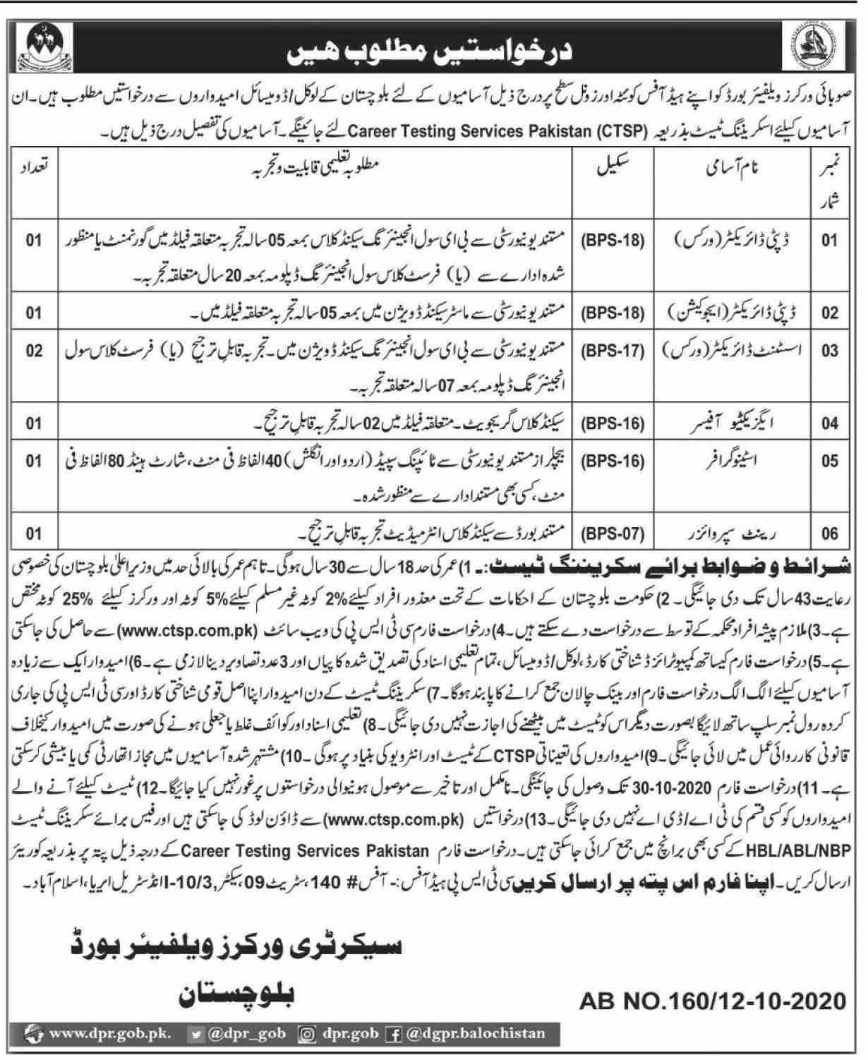 Workers Welfare Board Balochistan Quetta Job Advertisement in Pakistan - Apply Now - www.ctsp.com.pk