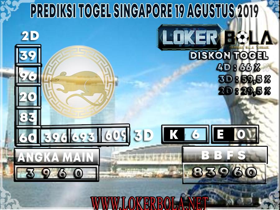 PREDIKSI TOGEL SINGAPORE LOKERBOLA 19 AGUSTUS 2019