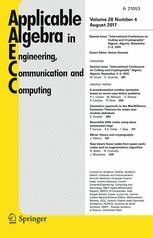 APPLICABLE ALGEBRA IN ENGINEERING COMMUNICATION AND COMPUTING