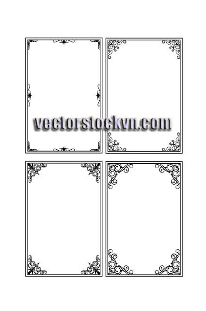 Vector Khung Viền Hoa Góc in Thiệp Cưới.