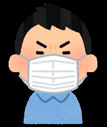 マスクを付けた人の表情のイラスト(男性・怒った顔)