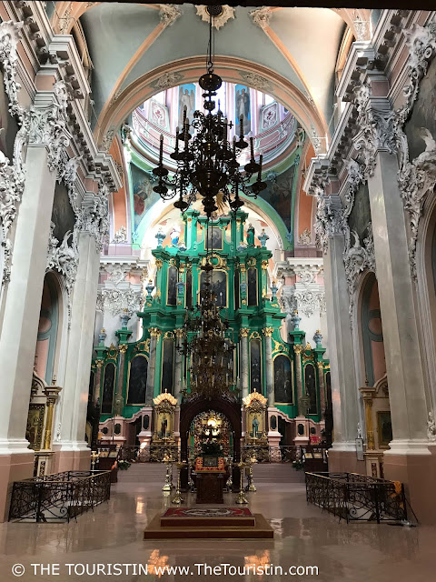 Ornate interior of the Orthodox Church of the Holy Spirit in Vilnius in Lithuania