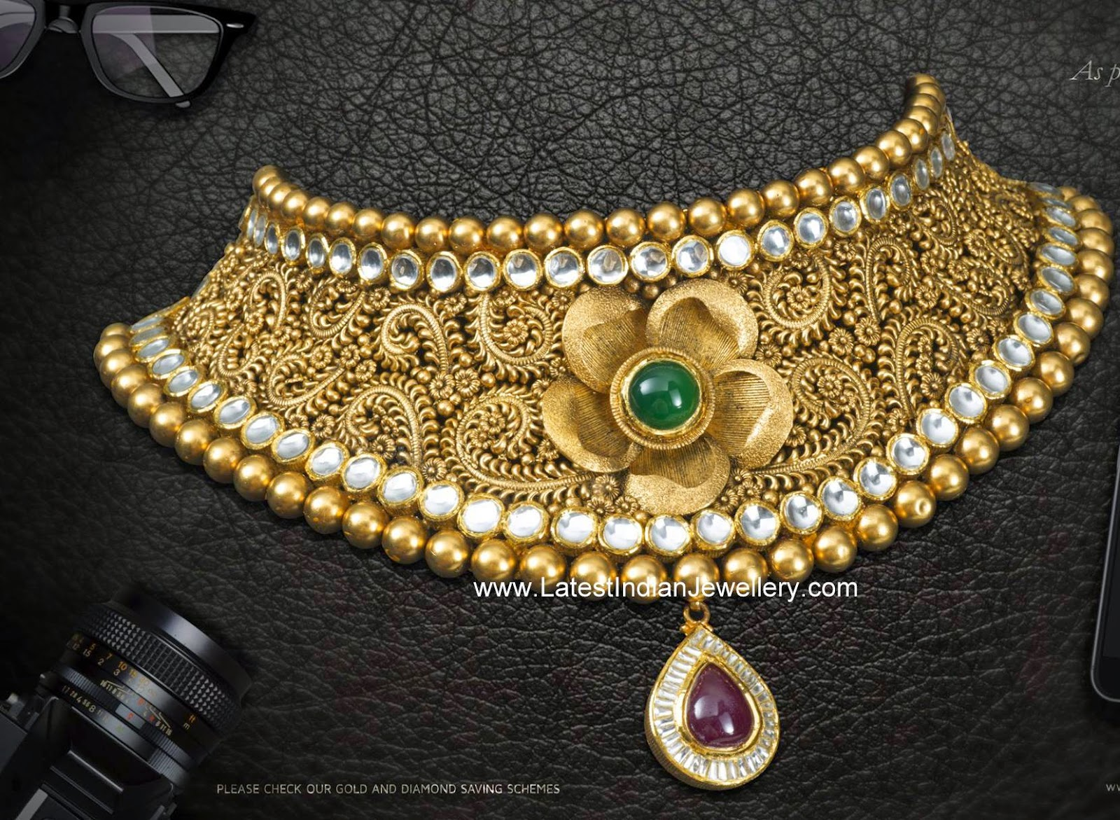 Gorgeous Antique Gold Bridal Choker Latest Indian