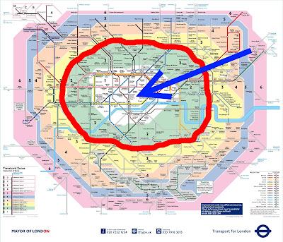 Mapa de las zonas 1 y 2 de los transportes de Londres.
