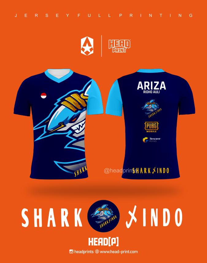 Shark Indo Esport Team Jersey Full Printing Custom - Jersey Satuan Jogja