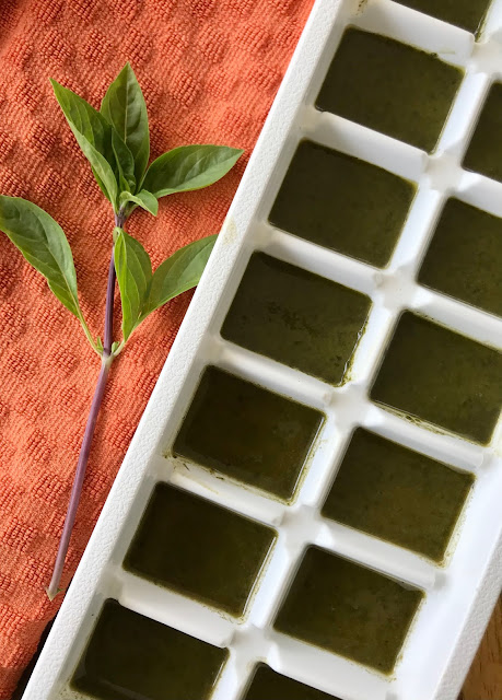 Thai basil puree in an ice cube tray.