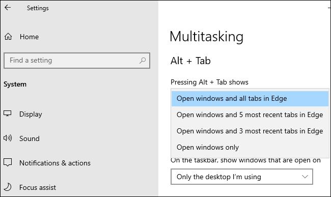 خيارات Edge Alt + Tab ضمن الإعدادات> النظام> تعدد المهام.