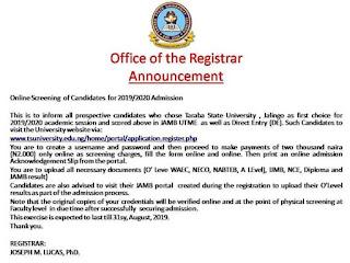 Taraba State University (TASU) Post-UTME Alert !