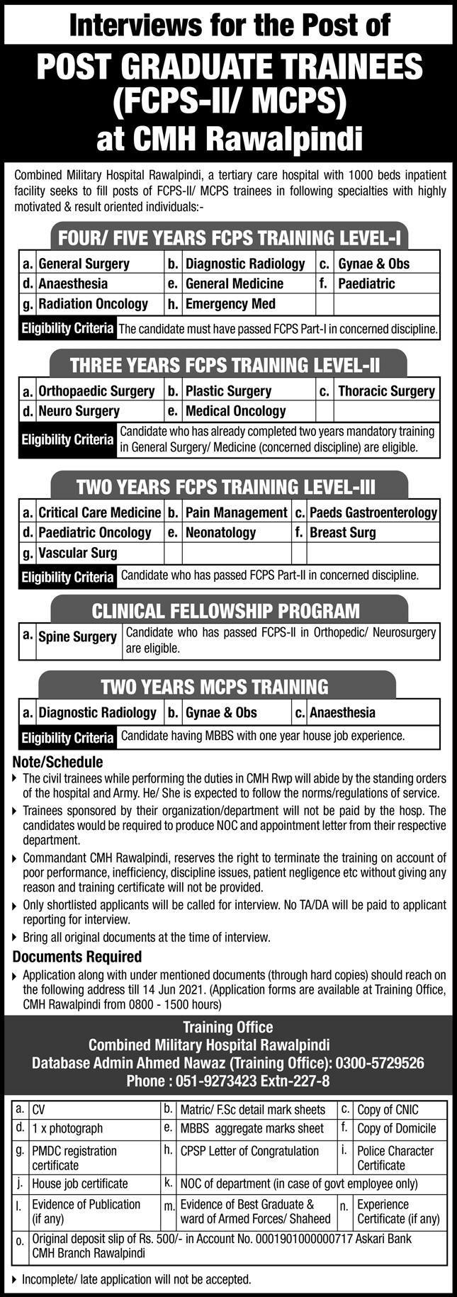 CMH Rawalpindi Post Graduate Trainees Jobs 2021 in Pakistan