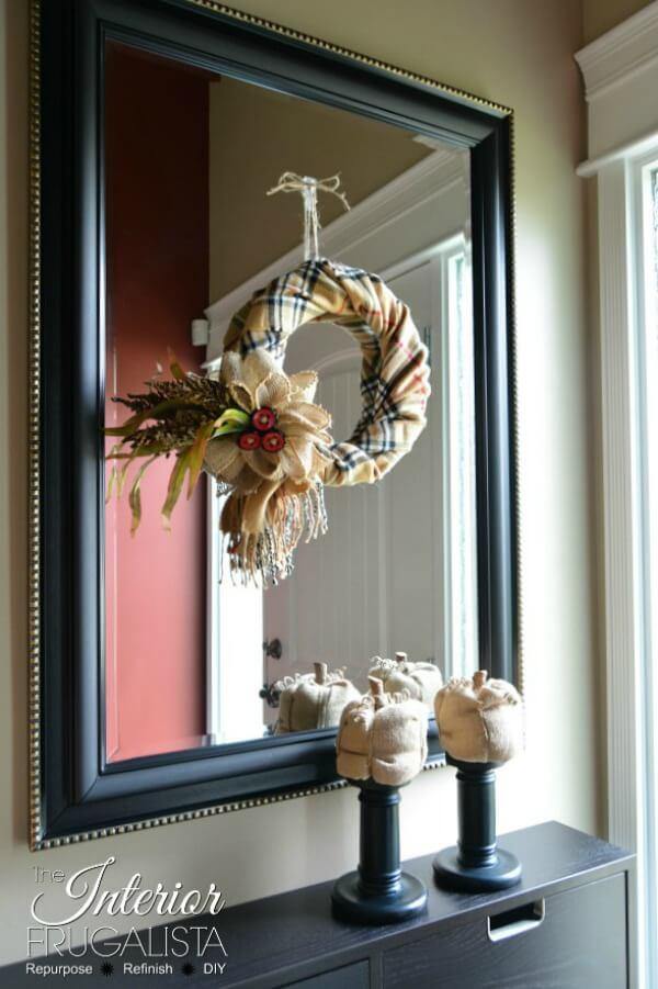 Fake Burberry Fall Scarf Wreath On Mirror