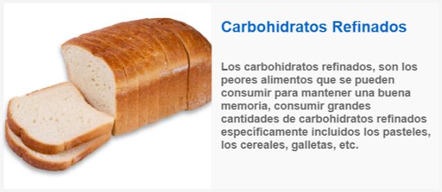 perdida de memoria Evite Los Carbohidratos Refinados