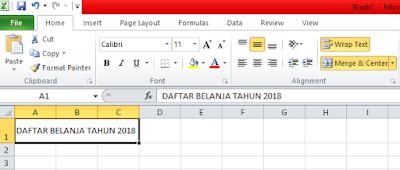 Menggunakan Wrap Text dan Merge Cells Pada Microsoft Excel, kegunaan merge cells, kegunaan wrap text, cara kerja merge cells, cara kerja wrap text, membuat tulisan menjadi rapi pada microsoft excel, menggabungkan kolom pada microsoft excel