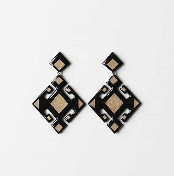 black and gold geometric paper earring pair
