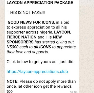 FACTCHECK: Is laycon giving out monetary gift to fans?