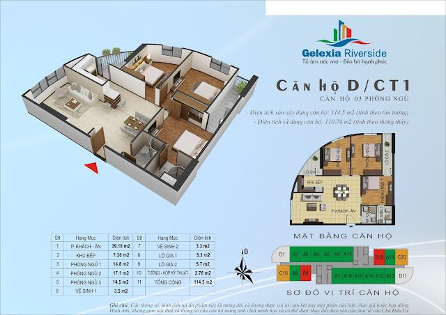 Căn hộ D, 110m, 3 phòng ngủ - CT1 Gelexia Riverside