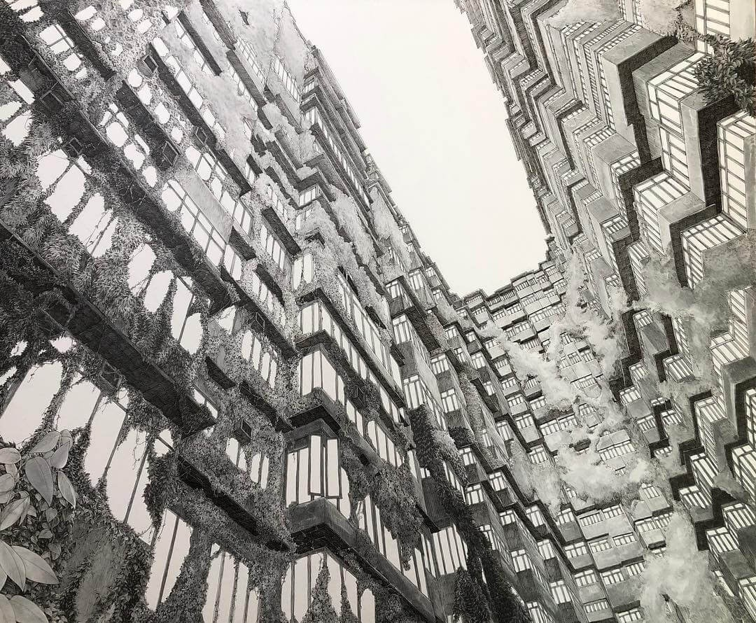 11-Reaching-for-the-Sky-ibsuki-Urban-Architectural-Pen-Drawings-www-designstack-co