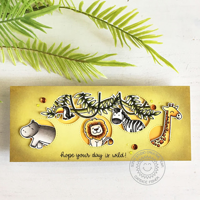 Sunny Studio Stamps: Savanna Safari Tropical Scenes Staggered Circle Dies Birthday Card by Candice Fisher