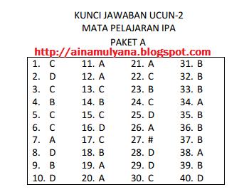 SOAL DAN KUNCI JAWABAN UCUN 2 IPA SMP TAHUN 2018 – 2019 (PAKET A)