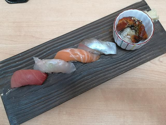 Sushi 4 kinds and Unagi Don