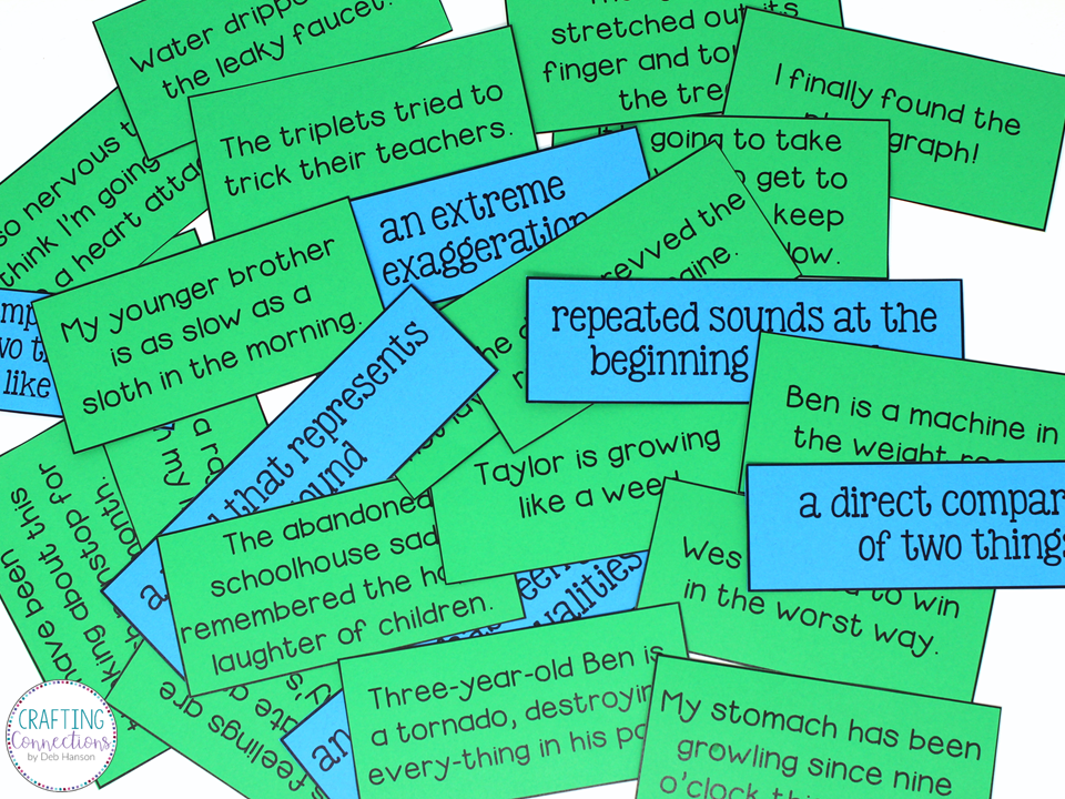 Visit this post to download the FREE materials to do a figurative language sorting activity in your upper elementary or middle school classroom.