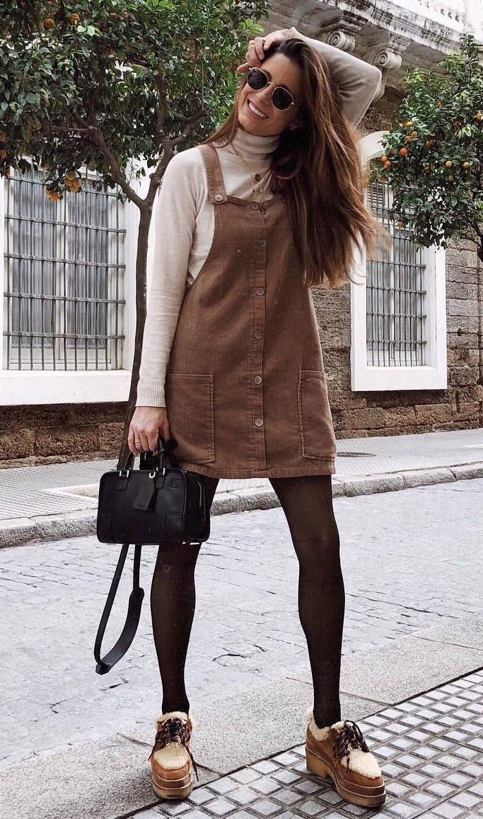 what to wear with a brown sundress : beige top + bag + boots
