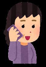 携帯電話で話す人のイラスト(おばさん)