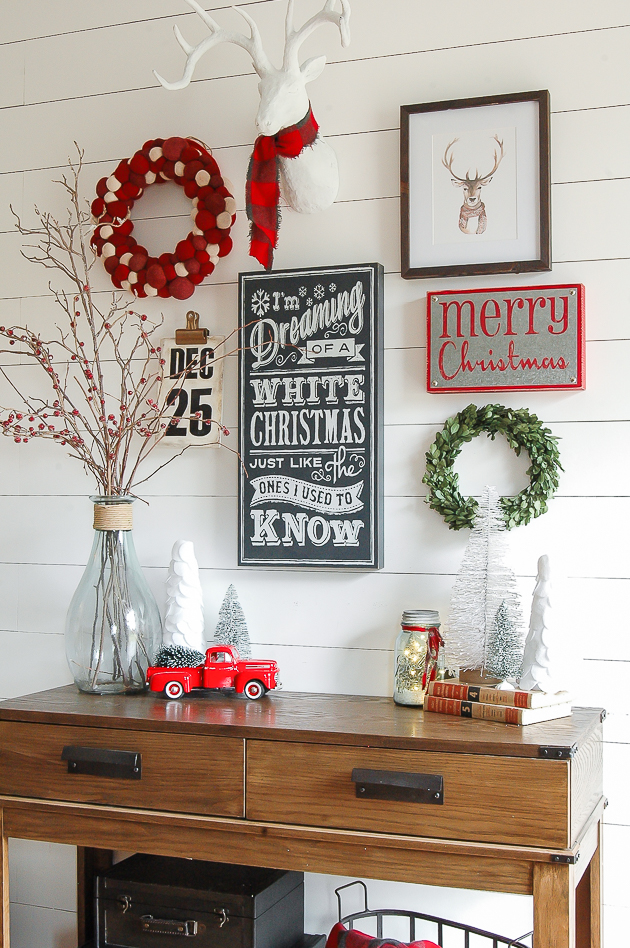 Traditional Christmas entryway gallery wall