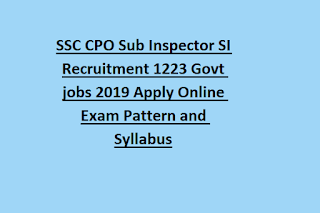 SSC CPO Sub Inspector SI Recruitment 1223 Govt jobs 2019 Apply Online Exam Pattern and Syllabus