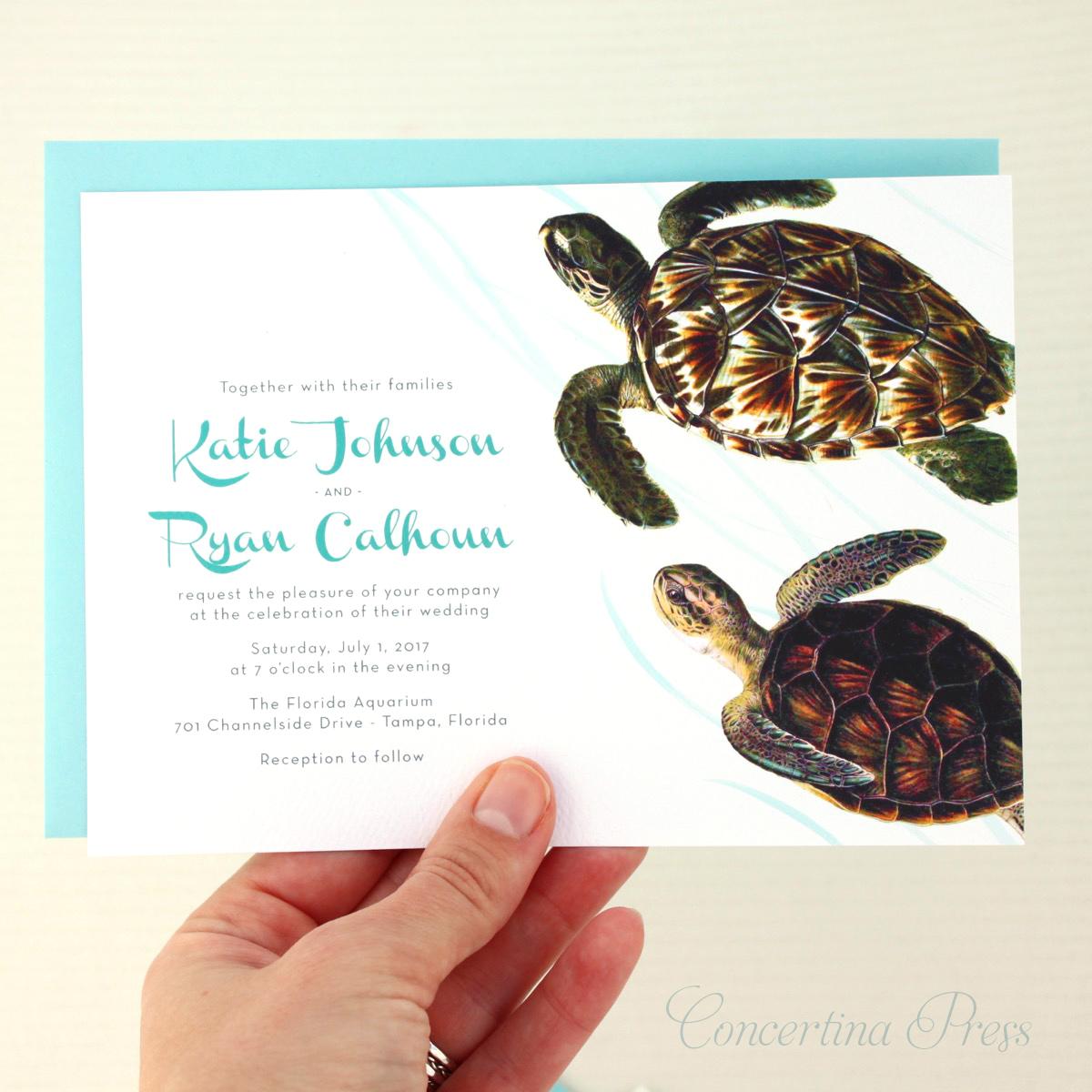 Sea Turtle Wedding Invitations: Stationery And Invitations: Sea Turtle