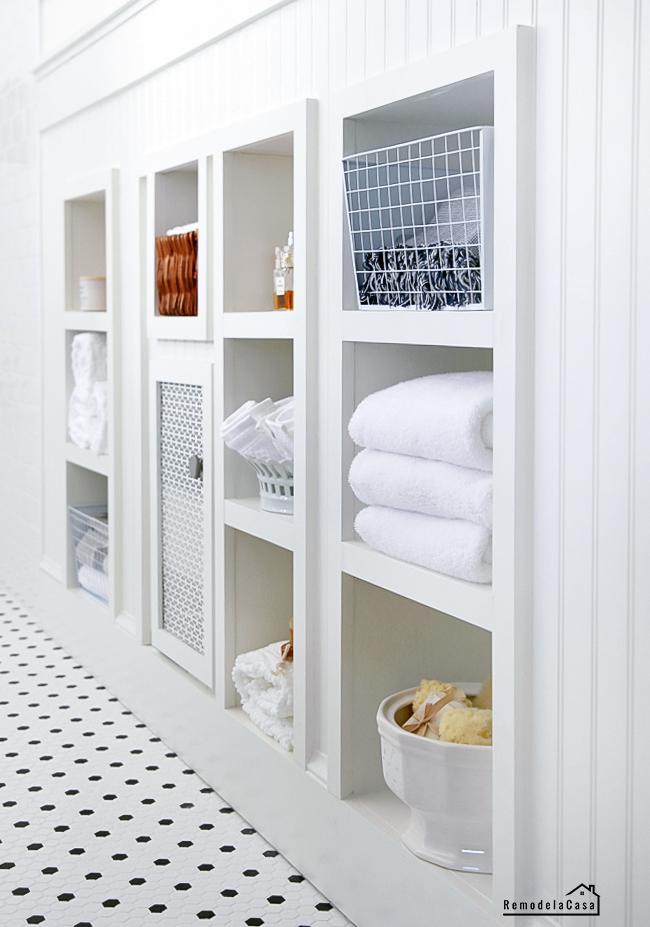 White bathroom shelves - under the eave storage