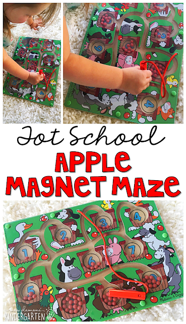 We LOVE this magnet maze for fine motor and number practice with an apple theme. Great for tot school, preschool, or even kindergarten!